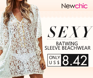 Sexy Batwing Sleeve Cover Up Floral Lace Beach Dress SKU376254