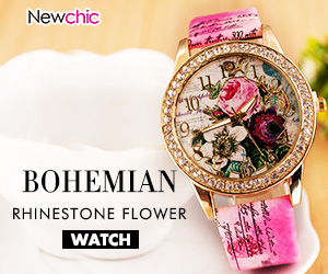 Bohemian PU Rhinestone Flower Leather Bracelet Watch