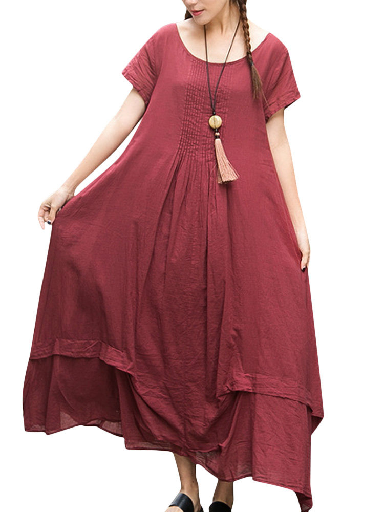 Women Short Sleeve Pure Color Irregular Vintage Long Maxi Dress