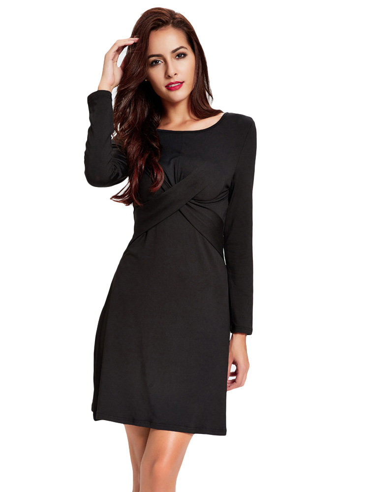 Sexy Women Long Sleeve Pure Color Slim Knit Mini Dress