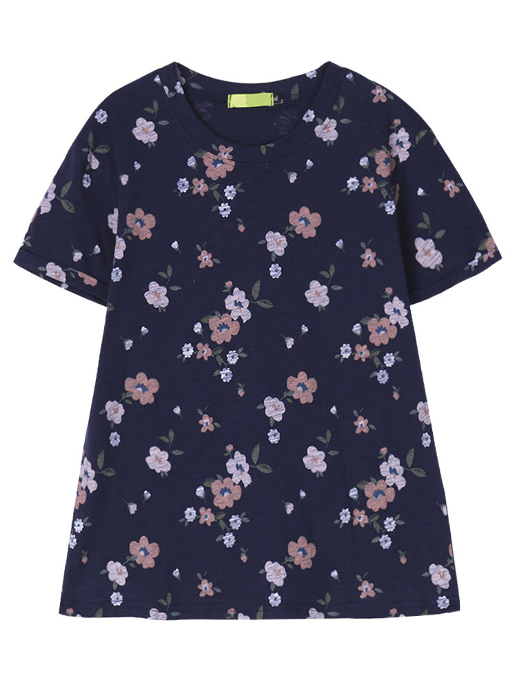 Women Short Sleeve Floral Printed Casual T-shirt