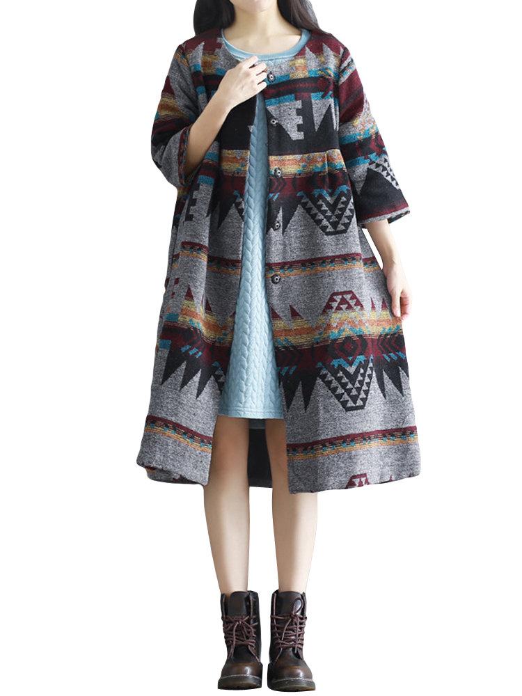 Vintage Women Half Sleeve Single Breasted Printed Woolen Loose Coat