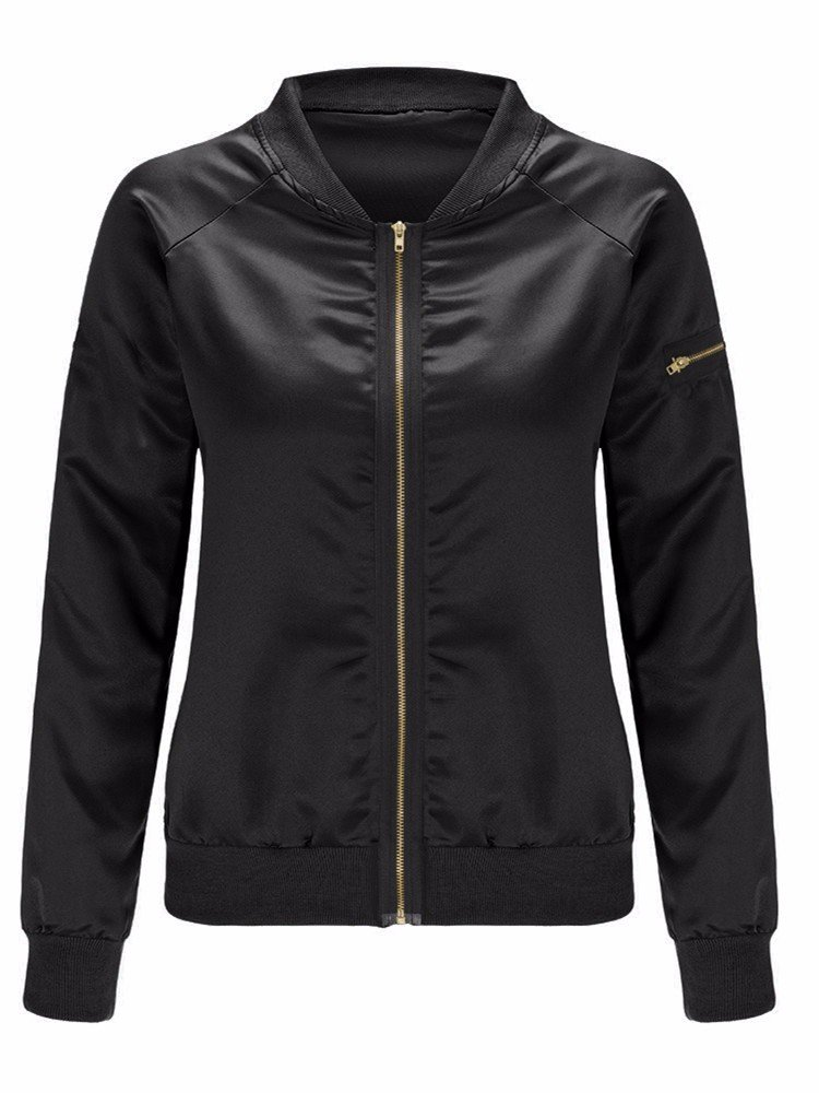 Zipped Stain Bomber Jacket Women Casual Coat