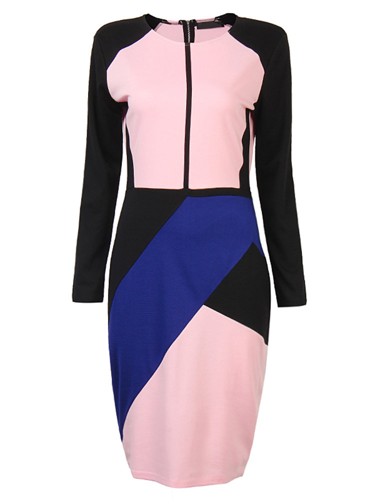 Hit Color Stitching Package Hip Dress For Office Women
