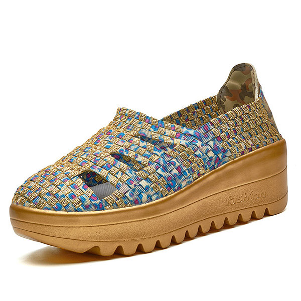 Knitting Gold Yellow Hollow Out Breathable Rocker Sole Platform Shoes