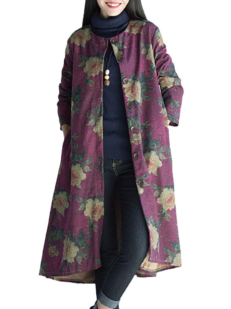 Women Ethnic Long Sleeve Floral Printed Thicken Woolen Cardigan