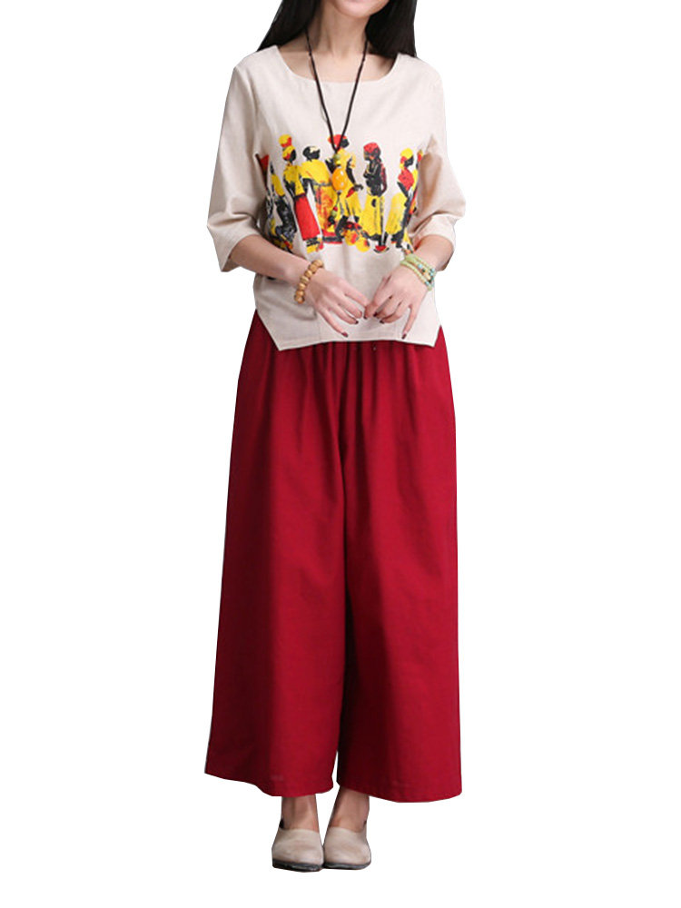 Loose Women Printed Cotton Linen Two-piece T-shirt Palazzo Pants