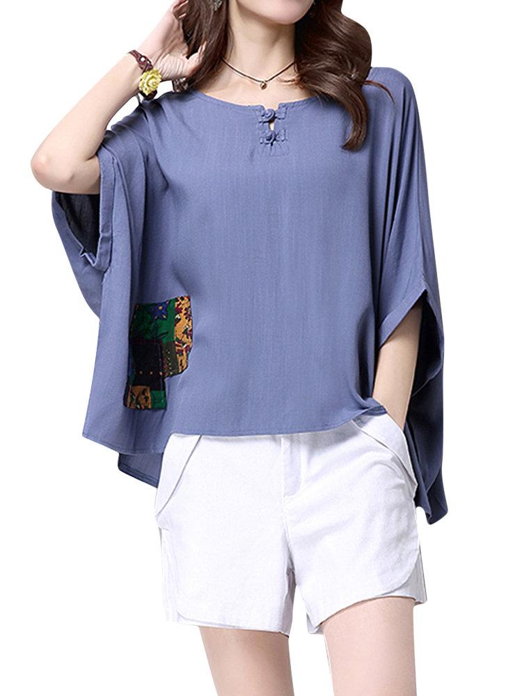 Loose Women Mori Girl Printed Patchwork Batwing Sleeve T-shirt