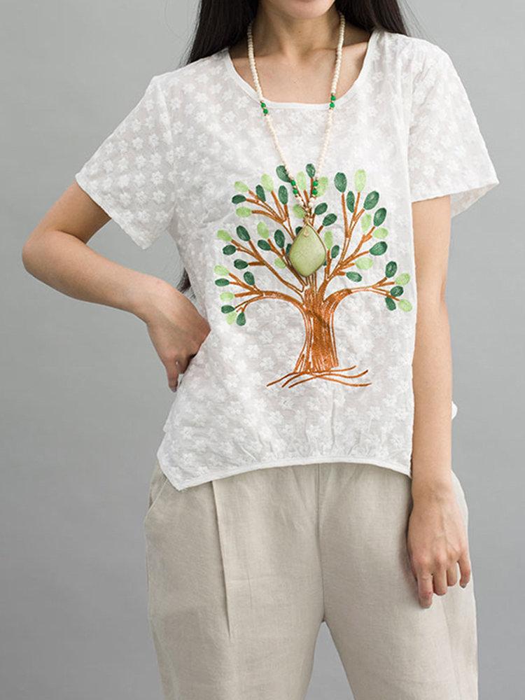 Women Short Sleeve Tree Printing Embossing Irregular T-shirt