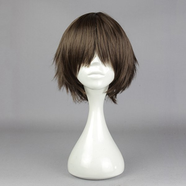 Brown Straight Short Cosplay Wig Synthetic Anime Costume Hair