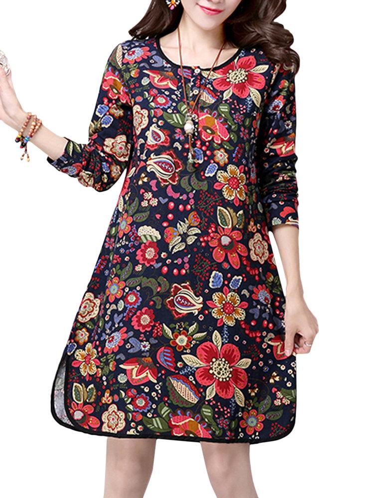 Женщины Этнические цветочные отпечатанной стороне Сплит с длинным рукавом A-льняное платье