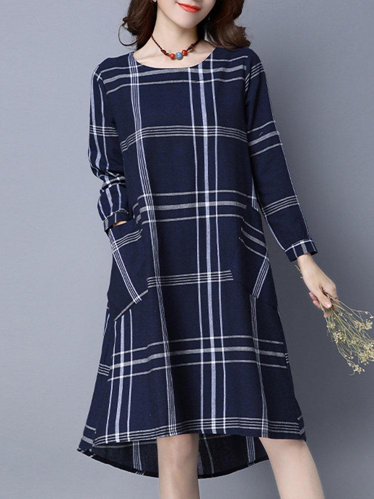 Women Plaid Long Sleeve Back Buttons Cotton Dress