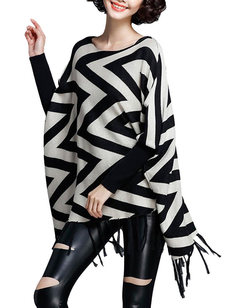 Women Stripe Tassels Irregular Casual Loose Knit Sweater
