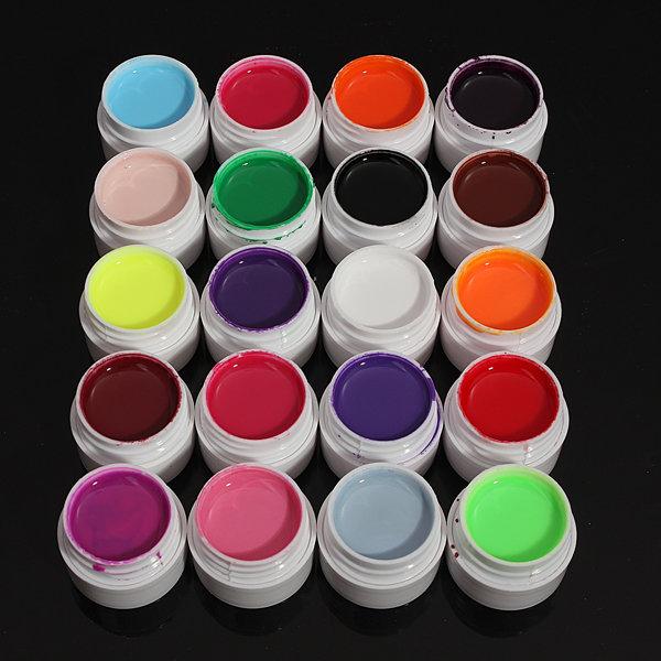 20 Mix Pure Colors Acrylic Nail Art UV Gel Builder Set