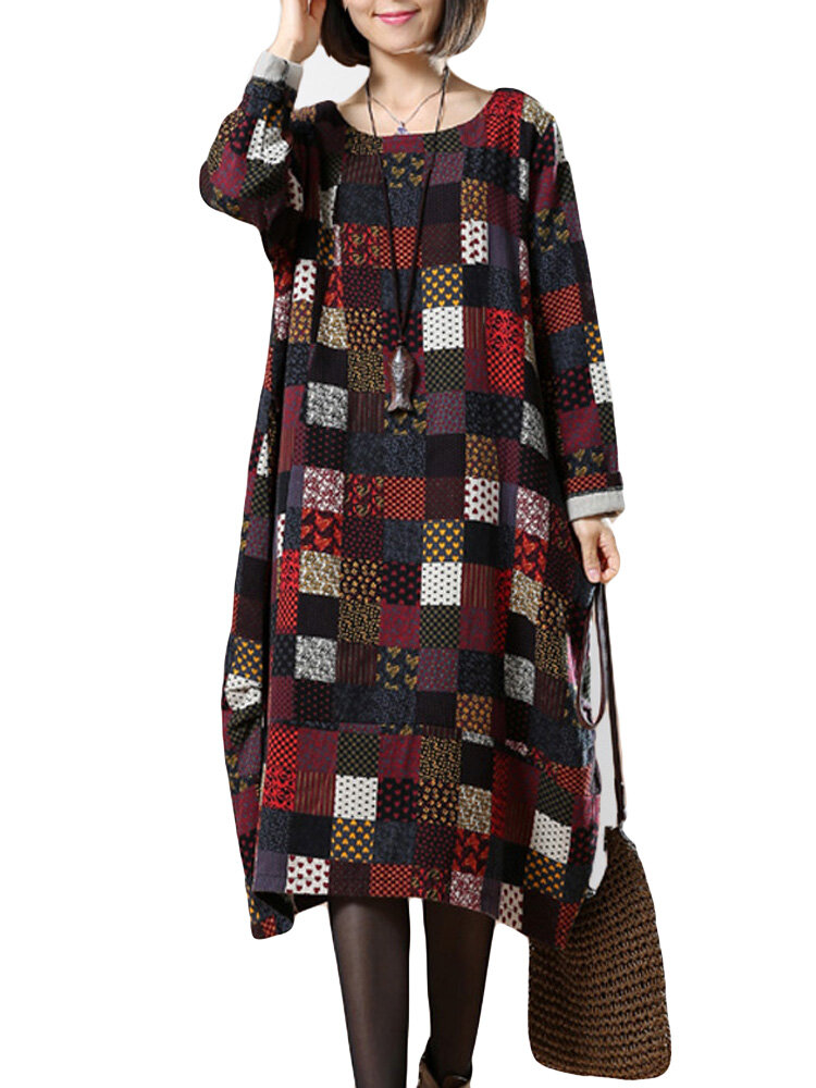 O-Newe Plus Size Women Color Block Printed Ball Gown Dress