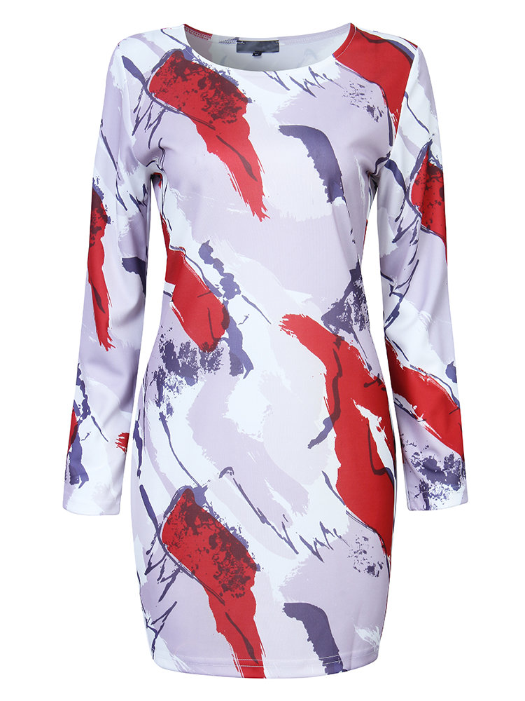 Women Elegant Floral Printed Long Sleeve Office Party Mini Dress