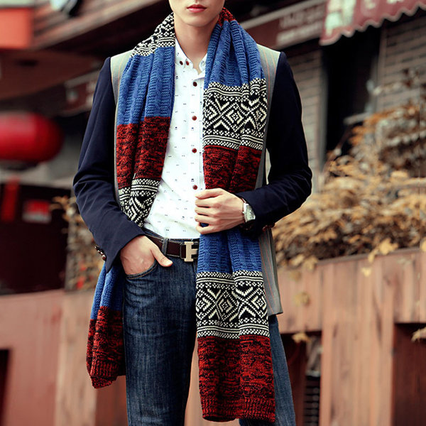 Men Women Couple Wool Scarves Warm Thick Long Hit Color Striped Knit Collar Scarf