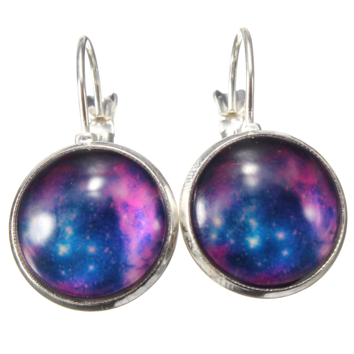 Vintage Galaxy Space Silver Plated Earrings