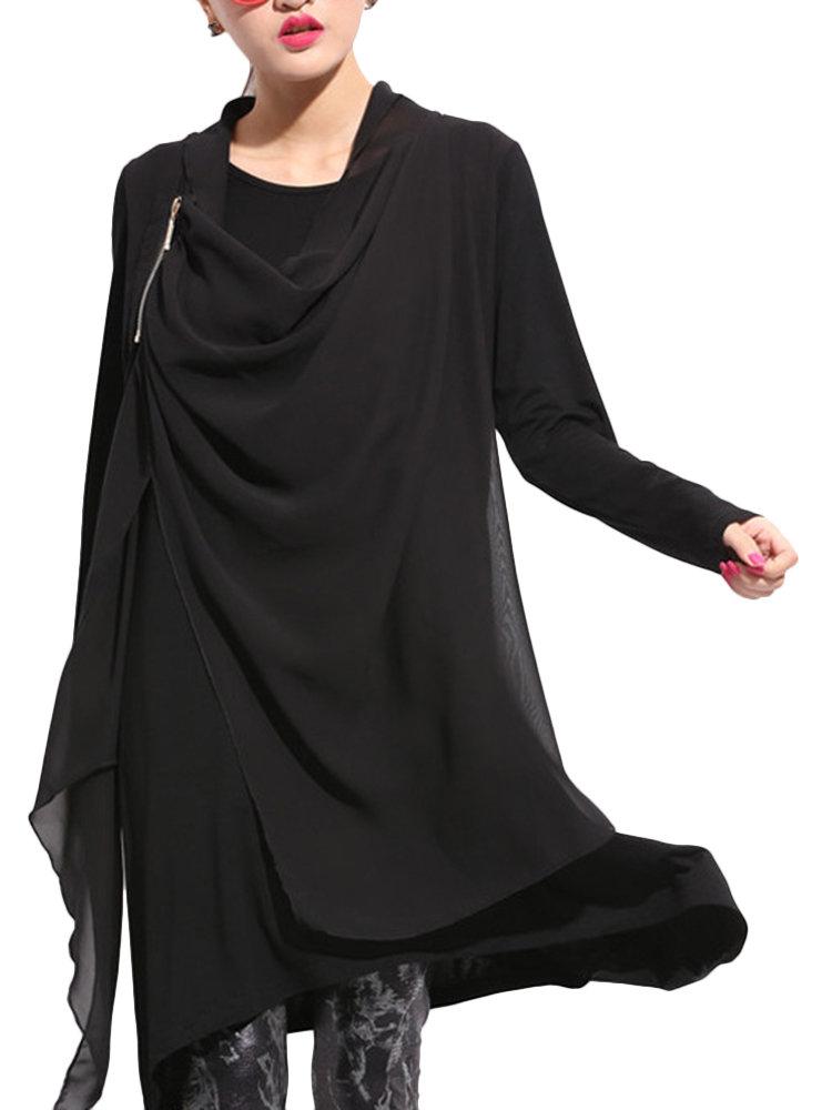 Элегантный Твердые шифон пэчворк с длинным рукавом Хем Асимметричный платье для женщин