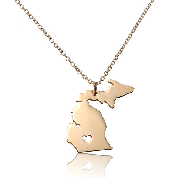 Michigan State Map Pendant Alloy Necklace