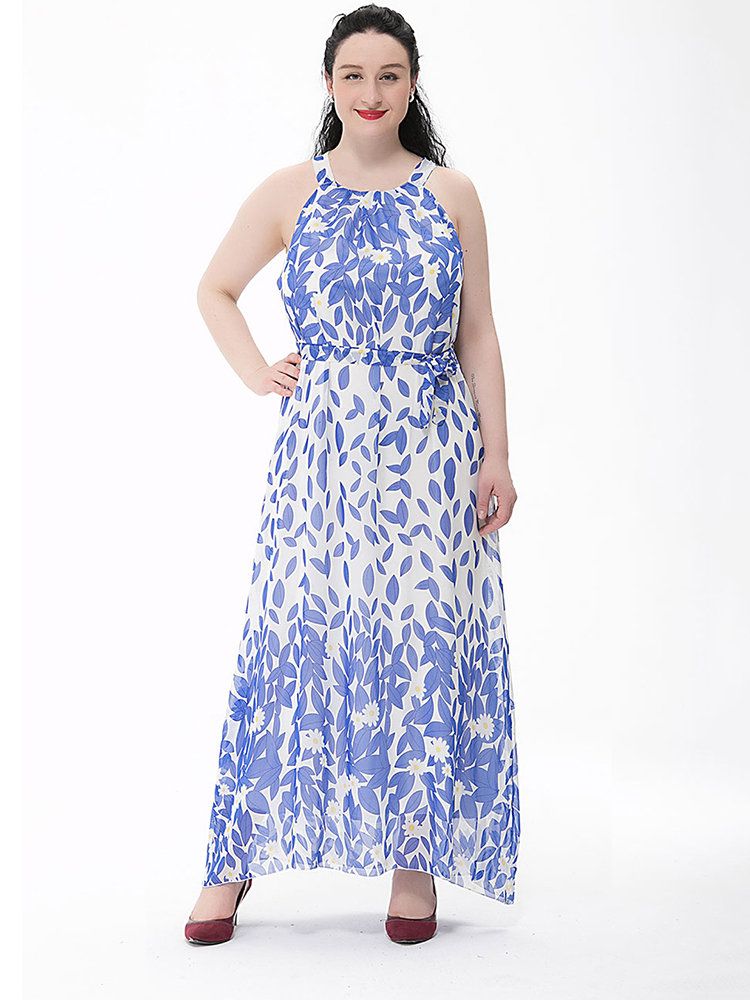 Bohemian Women Printed Backless Chiffon Maxi Dress