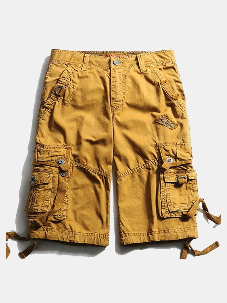 Casual Multi-Pocket Embroidery Cotton Loose Plus Size Cargo Shorts For Men