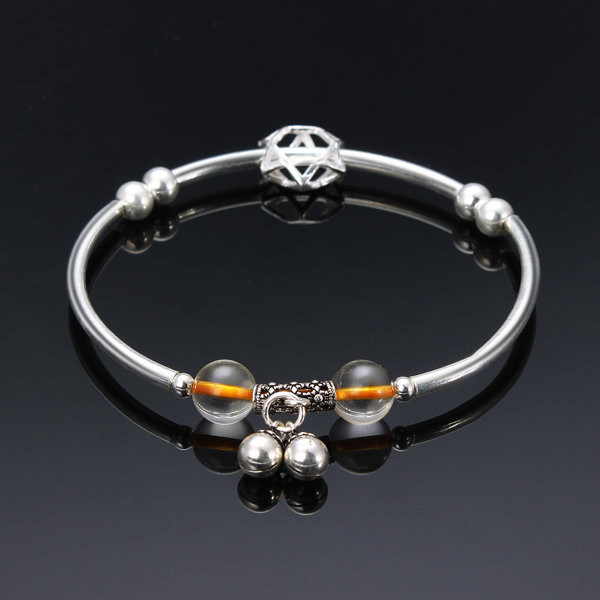 8mm Natural Citrine Beads Bracelet with S925 Silver Hollow Star Accessories