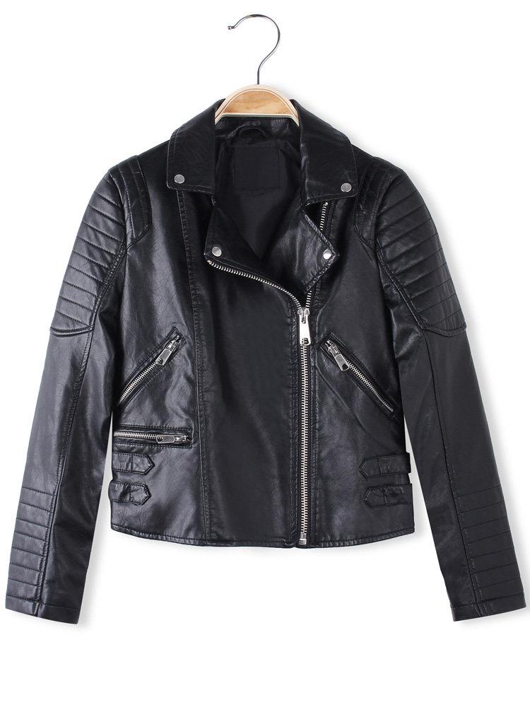 Women Long Sleeve PU Buckle Strap Jacket Coat