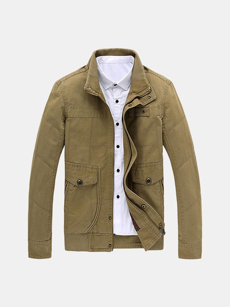 Большой размер Мужская мода Военный стиль стенд воротник Открытый Casaul хлопка куртки