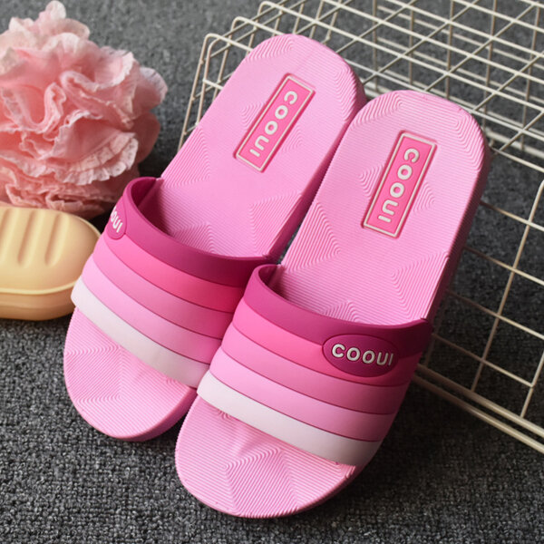 Gradient Ramp Colorful Soft Peep Toe Flat Indoor Home Shoes
