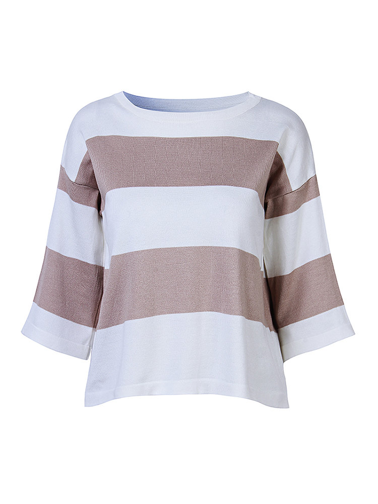 Fashion Casual Striped Contrast Color 3/4 Sleeve Blouse For Women