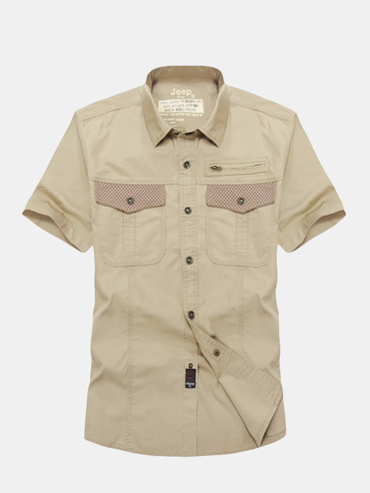 Jeep Rich Plus Size Summer Mens Pockets Cotton Casual Short Sleeve Shirts