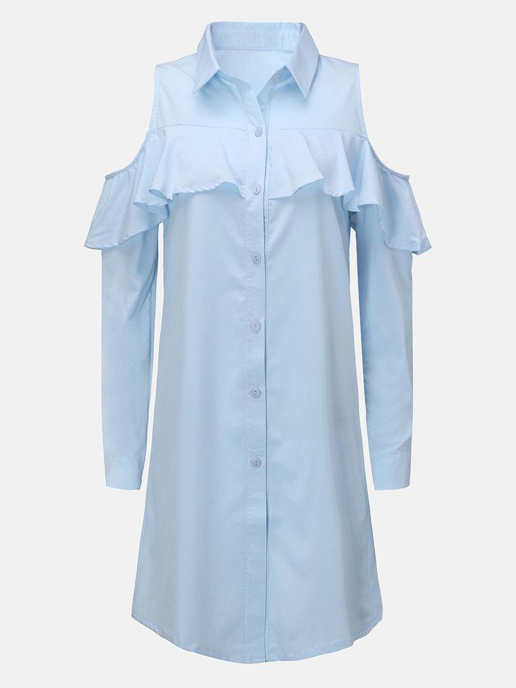 Осень Женщины вскользь плеча отворотом кнопки воротник рубашки платье