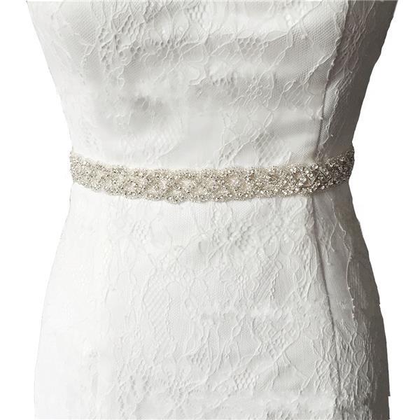 Bride Bead Rhinestone Ribbon Sash Belt Diamond Crystal Wedding Formal Dress Accessories