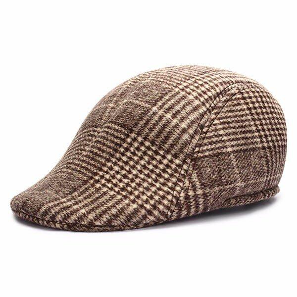 Мужчины Женщины Шерстяной Толстые Plaid нашивки Newsboy Hat Берет Утконос Ковбой Golf Flat Cabbie Cap