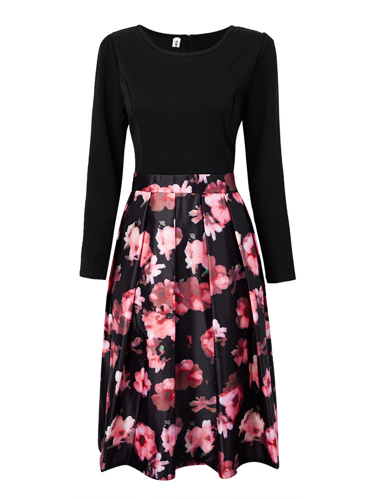 Floral Patchwork High Waist Slim Long Sleeve Midi Dress