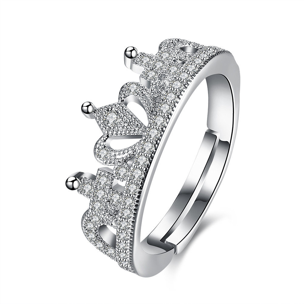 Luxury Wedding Ring Silver Platinum Crown Full Zircon Ring for Women