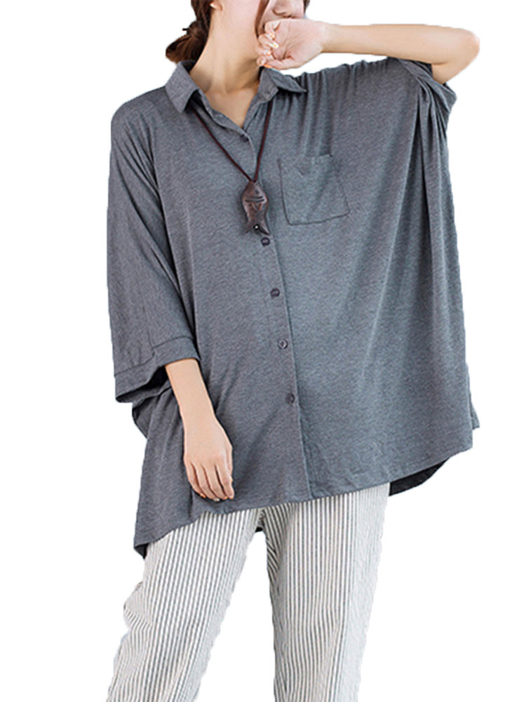 Loose Women Lapel Collar Batwing Sleeve Pure Color Button Blouse
