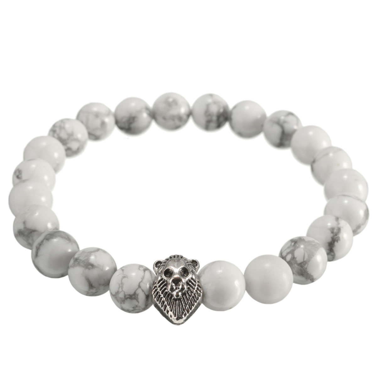 Agate Lion Head Beaded Stretch Bracelet