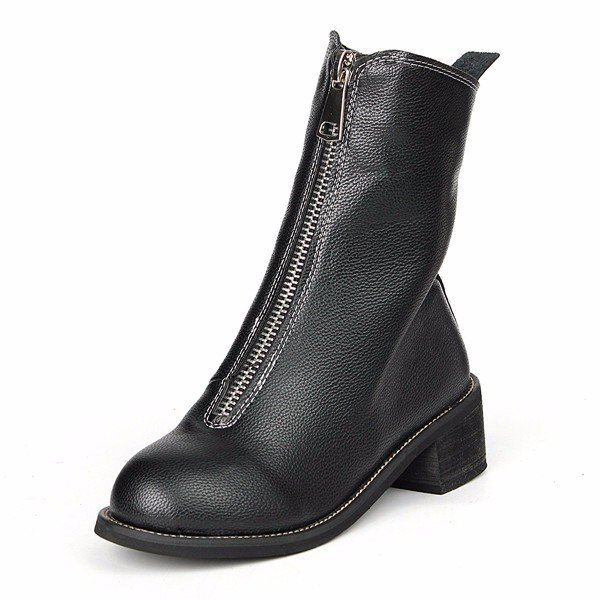 Black Zipper Mid Calf Knight Military Vintage Square Heel Boots