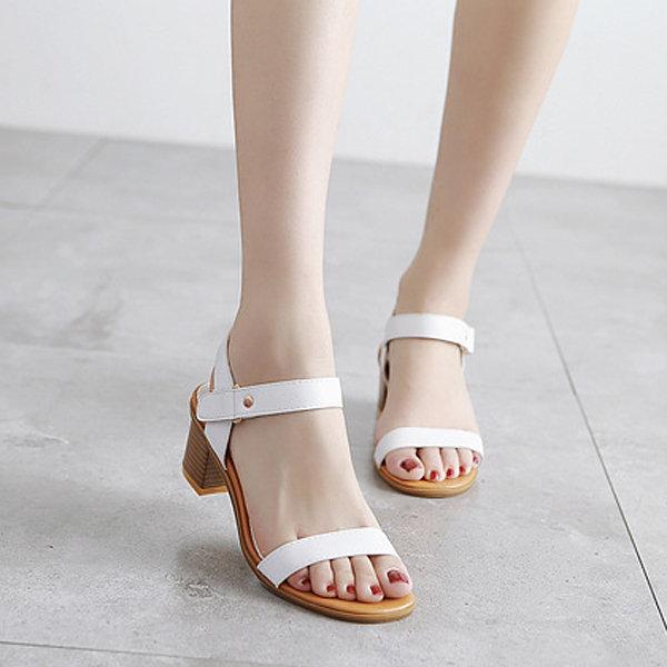 Кожа ретро Урожай Peep Toe пряжки коренастый пятки сандалии