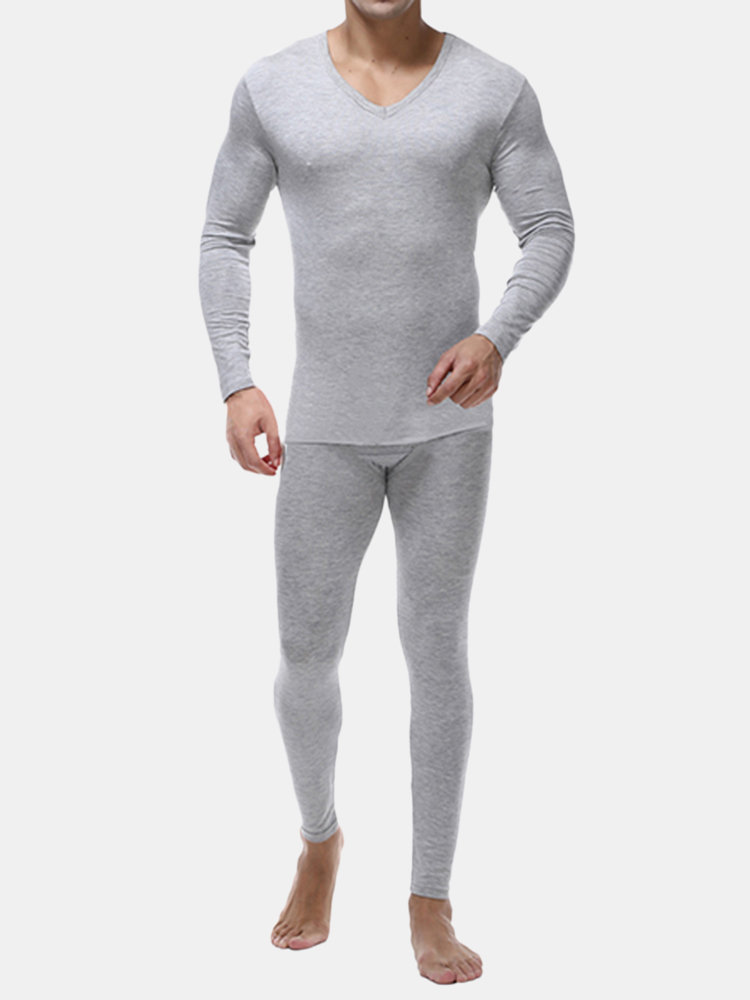Casual Modal Soft Thin V Neck Solid Color Thermal Pajama Sets for Men