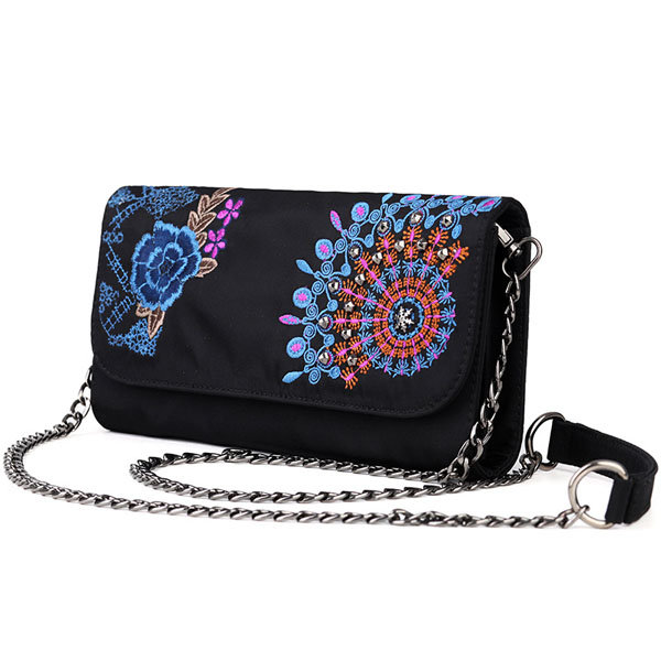 Women Handmade Embroidery Flower Pattern Nylon Casual Shoulder Bags Chain Crossbody Bag Clutches Bag