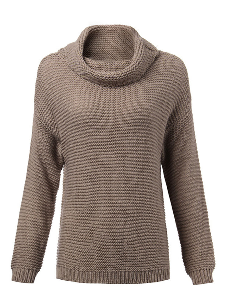 Casual Women Long Sleeve High Collar Solid Pullover Sweaters
