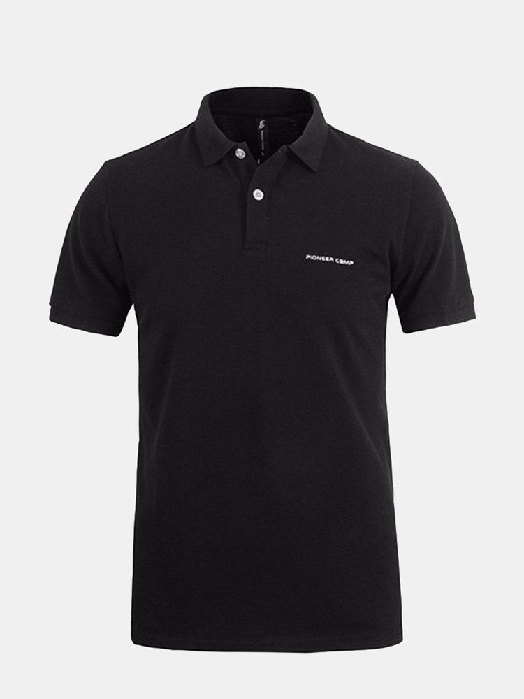 Mens Summer Brief Style Turn Down Collar Solid Color Polo Shirts