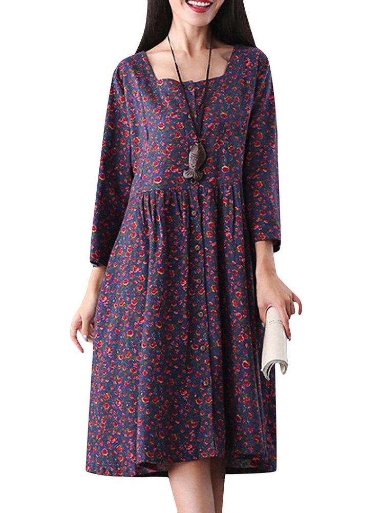 Урожай Цветочные Печатный Кнопка три четверти рукава A-Line платье для женщин
