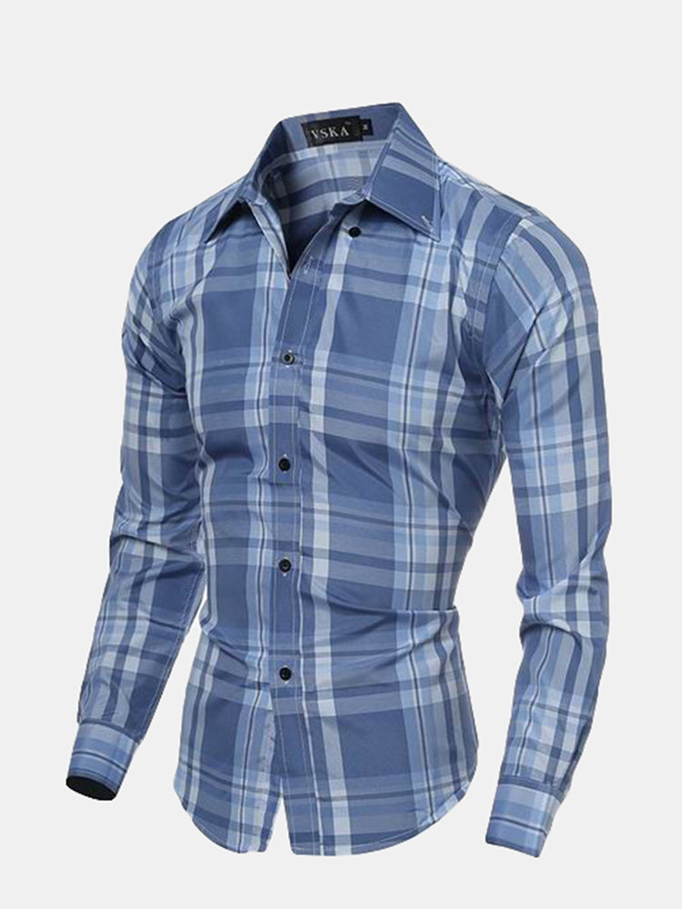 Spring Mens Checks Pattern Slim Fit Turndown Collar Long Sleeved Dress Shirts