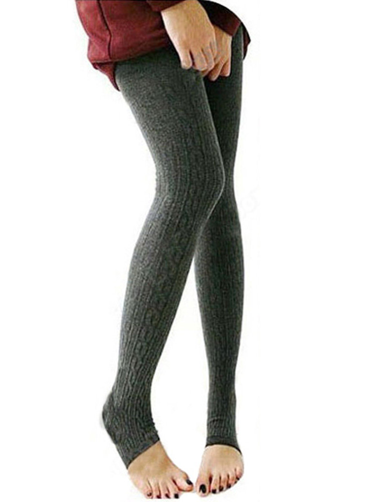Solid Cotton Tight Skinny Footless Legging