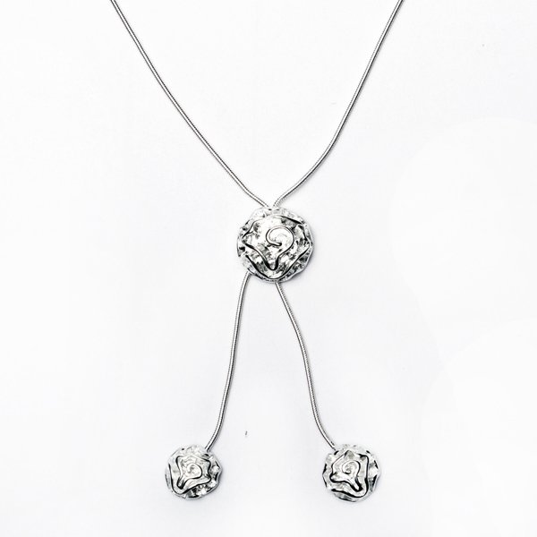 Rose Flower Pendant Silver Plated Necklace