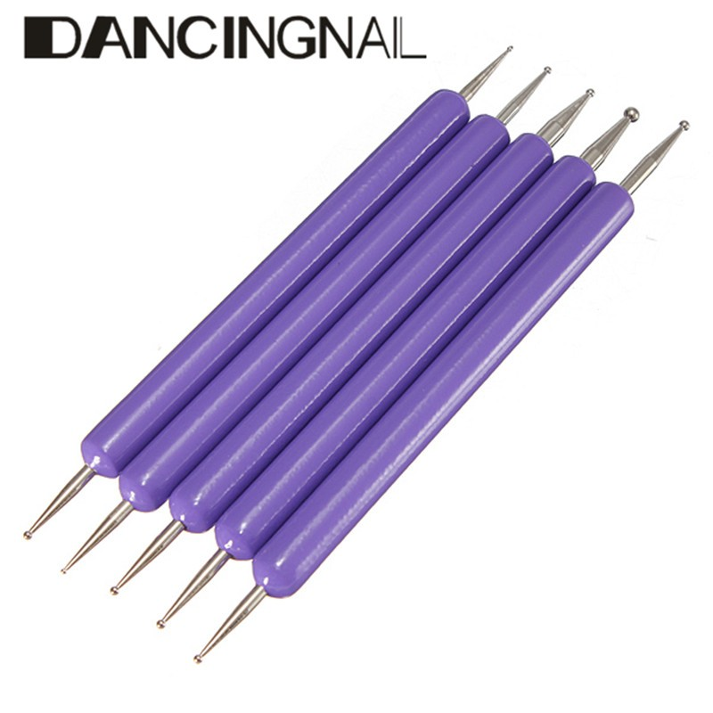 DANCINGNAIL 5 Pcs 2 Ways Nail Art Design Dot Painting Dotting Pen Tools